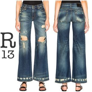 R13 Denim The Jane Wide-Leg Distressed Jeans